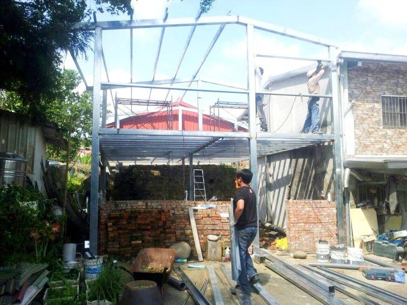 鐵皮屋工程作品-一二樓骨架施工
